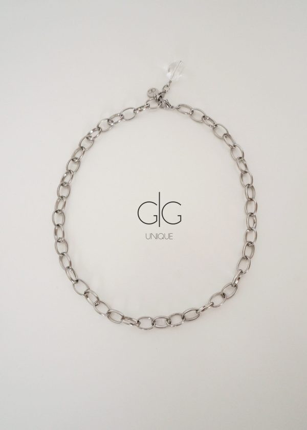 Stainless steel necklace with mountain crystal - GG UNIQUE