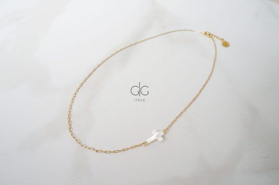 Gold color necklace with natural shell cross - GG UNIQUE