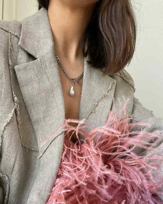 Irina Cybina - white pearl mass necklace - GG UNIQUE