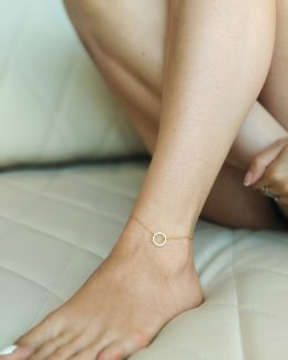 Minimal style gold color karma circle anklet - GG UNIQUE