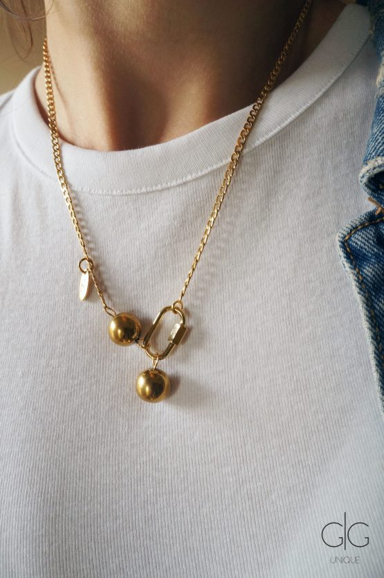 Gold color locker necklace with stone bubbles - GG UNIQUE
