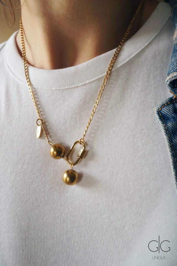 Gold color locker necklace with stone bubbles - GG UNIQUE