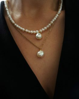 Freshwater pearl necklace with pearl pendants - GG UNIQUE
