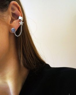Stainless steel star earring set with an ear cuff - GG UNIQUE