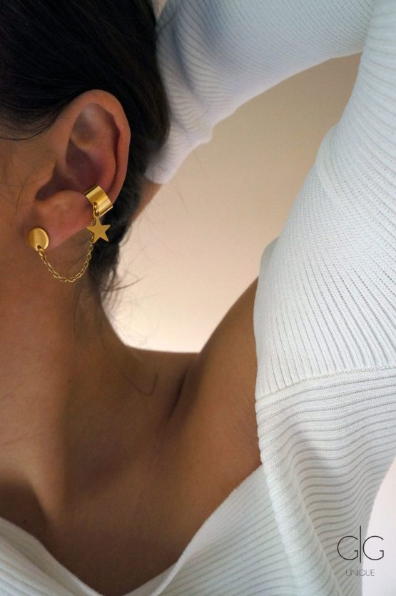 Stainless steel star earring set with an ear cuff in gold - GG UNIQUE