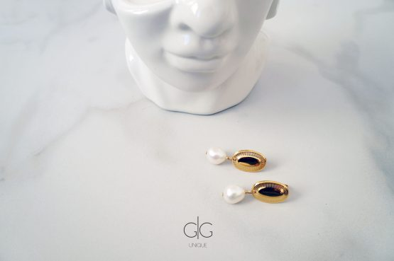 Vintage freshwater pearl earrings in gold - GG UNIQUE