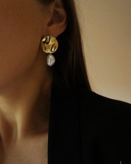 Round gold plate earrings with pearls - GG UNIQUE