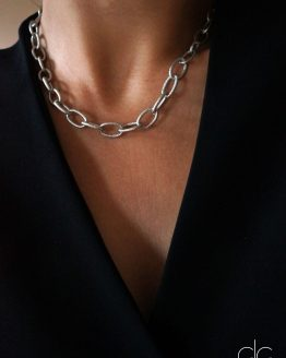 Large trendy silver chain necklace - GG UNIQUE