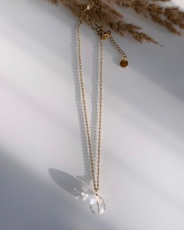 Long necklace chain with mountain crystal pendant - GG UNIQUE