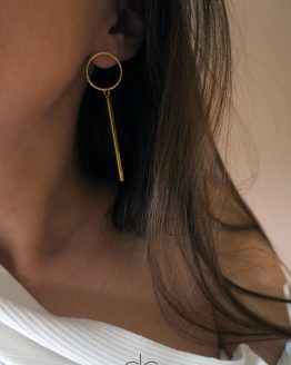 Circle and long bar earrings gold color - GG UNIQUE