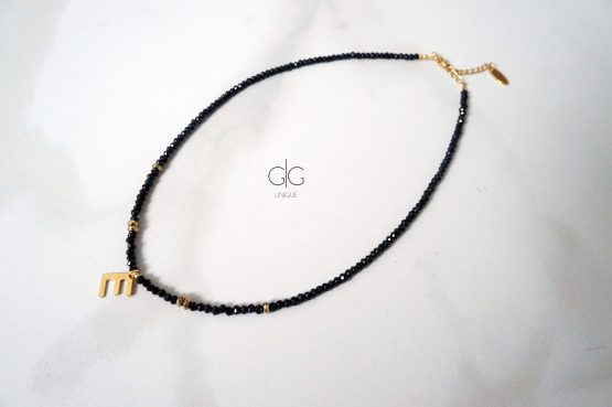 Black crystal necklace with initial letter pendant - GG UNIQUE