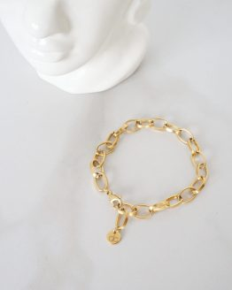 Large ring gold plated chain bracelet - GG UNIQUE