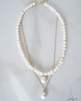Freshwater pearl necklace with Keshi pearl pendants - GG UNIQUE