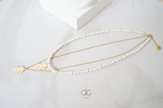 Freshwater pearl necklace with irregular shape pendants - GG UNIQUE