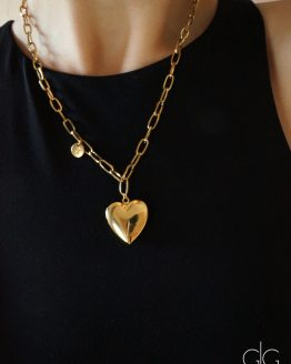 Large heart locket pendant polished lockets