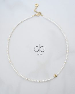 Small pearl delicate necklace with a golden heart - GG UNIQUE