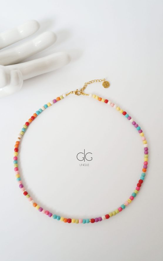 Colorful summer feeling howlite stone necklace - GG UNIQUE