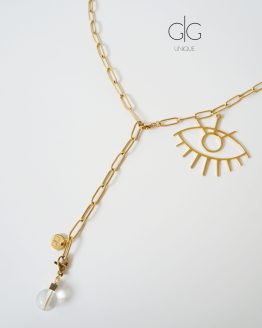 Gold plated chain necklace with an eye symbol