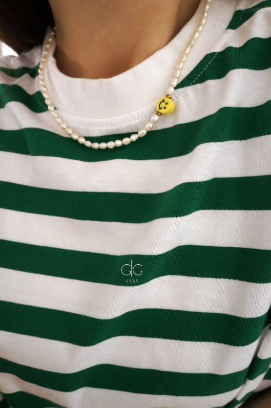 Trendy smile and pearl necklace - GG UNIQUE