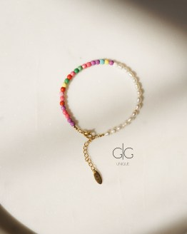 Colorful small pearl and howlite stone bracelet - GG UNIQUE