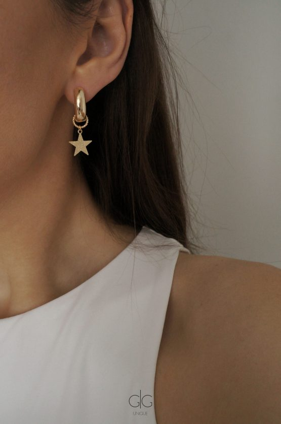 Gold plated hoop earrings with removable star pendant - GG UNIQUE