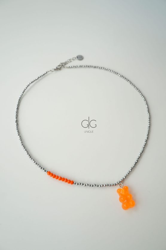 Trendy teddy bear colorful necklace with hematite stones - GG UNIQUE