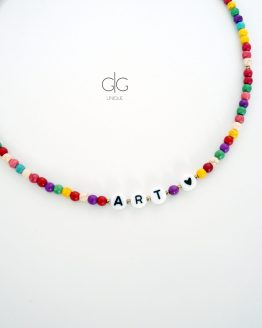 Colorful howlite stone ART LOVER necklace - GG UNIQUE