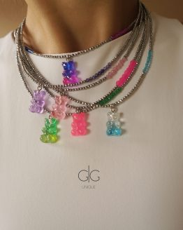 Limited edition teddy bear necklace with hematite stones - GG UNIQUE