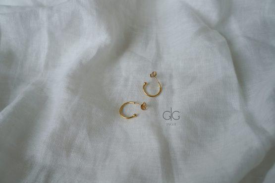 Mini golden hoop earrings with bubble ending - GG UNIQUE