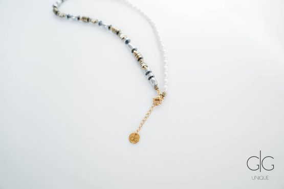 Pearl and mixed hematite stones necklace - GG Unique