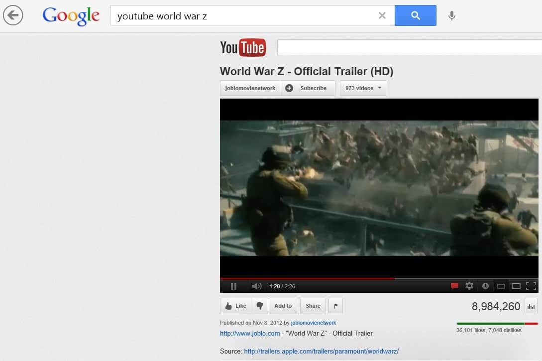 Google Search App For Windows 8 Update Brings YouTube