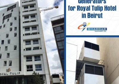 2 x 500 KVA Generators with Special Installation for Royal Tulip Hotel in Beirut.