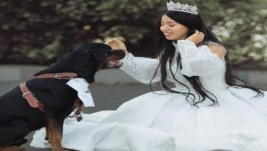 صورة بلوغر عربية تعلن زواجها من كلب!