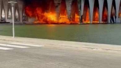 صورة قبل ساعات من الافتتاح.. اندلاع حريق مهول بقاعة افتتاح مهرجان الجونة