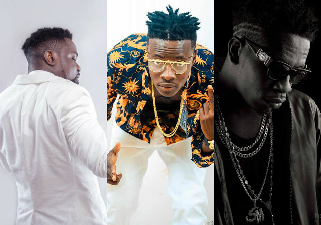From left: Sarkodie, Fancy Gadam and Shatta Wale