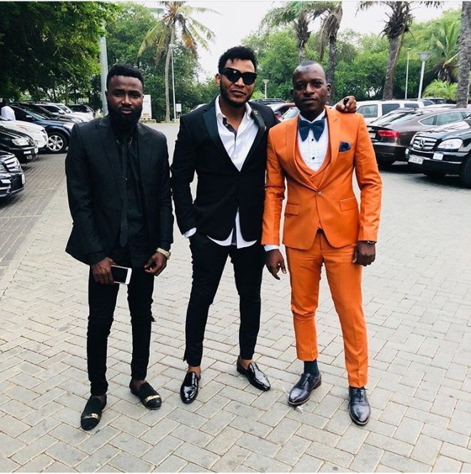 Possi Gee and Nana Boroo at Sarkodie and Tracy's white wedding held at Labadi Beach Hotel in Accra on Saturday, July 21.