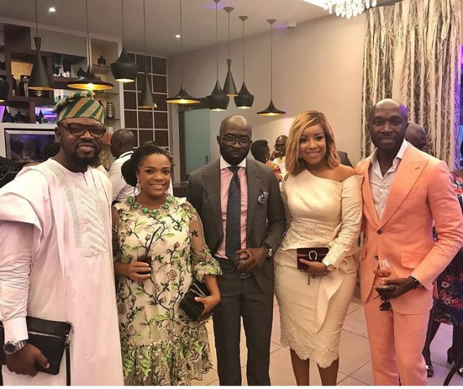 KOD, Joselyn Dumas and Brommon at Sarkodie and Tracy's white wedding held at Labadi Beach Hotel in Accra on Saturday, July 21.