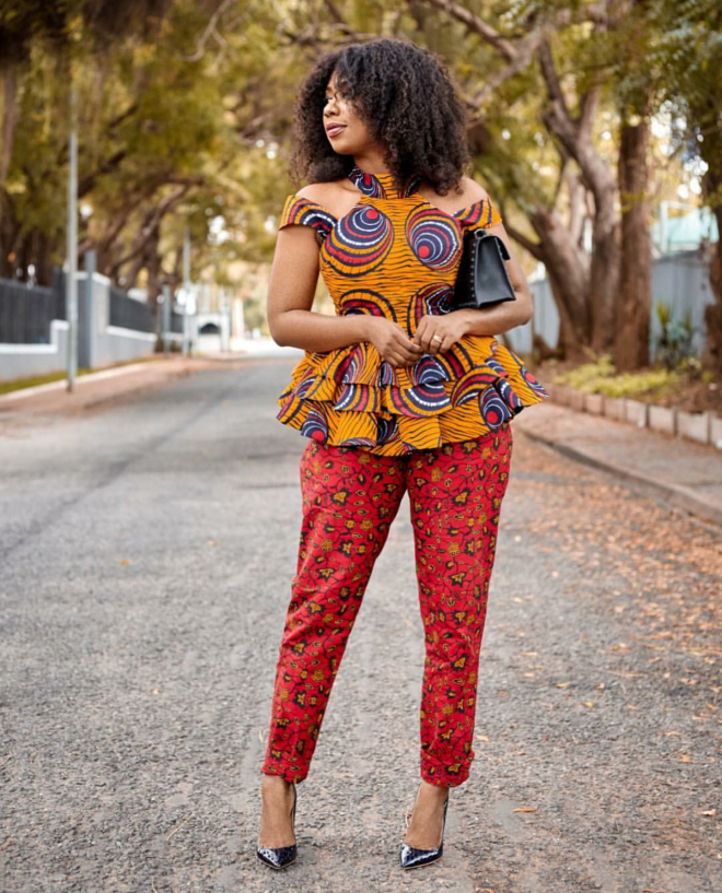 8e88d90bedaca2 ... top and pants Selly Galley effortlessly slaying and serving African  style goals in African prints