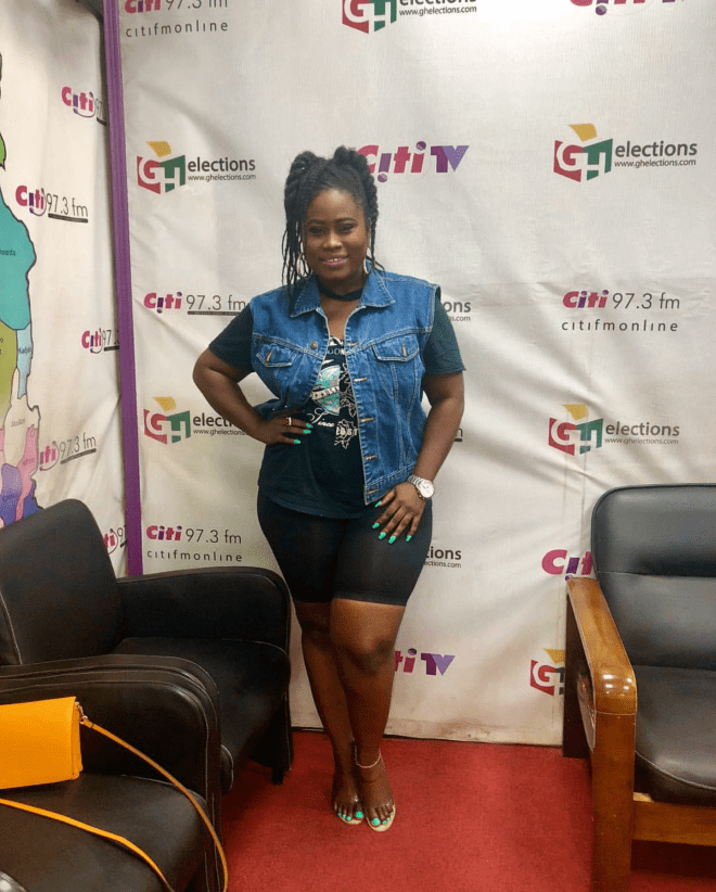 Lydia Forson served a look in this denim on tee over sports short