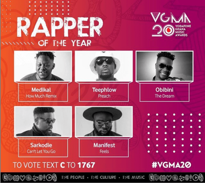 Nominees for the 2019 VGMA Rapper of the Year category