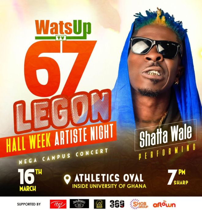 Shatta Wale performing at WatsUp TV Legon Hall Week Artist Night