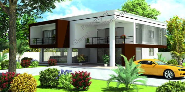 Contemporary Home Plan for Cameroon   All Africa Countries 4 Bedroom 2 Storey Family House On 70