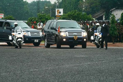 The Vice President uses a maximum of 7 cars, not 16 for travels outside Accra
