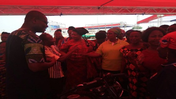 Ahead of NPP Delegates Conference:  Richard Ahiagbah Assists women in Venue Setup