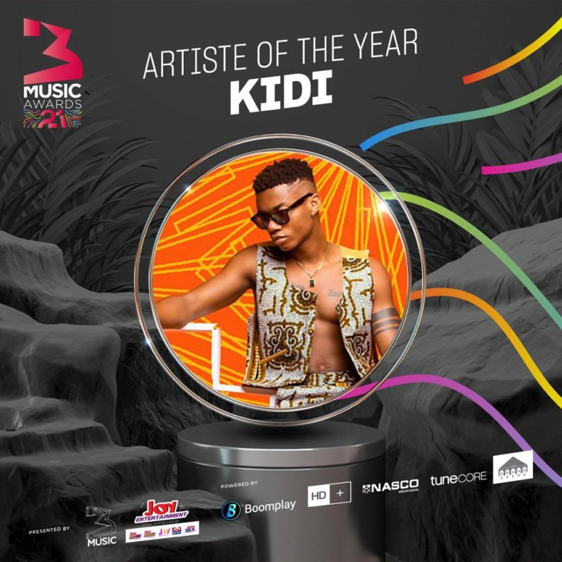 #3MusicAwards21 Kidi Wins Artiste Of The Year   @KiDiMusic