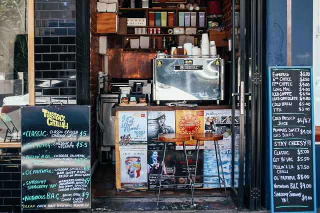 street cafe counter with signboards