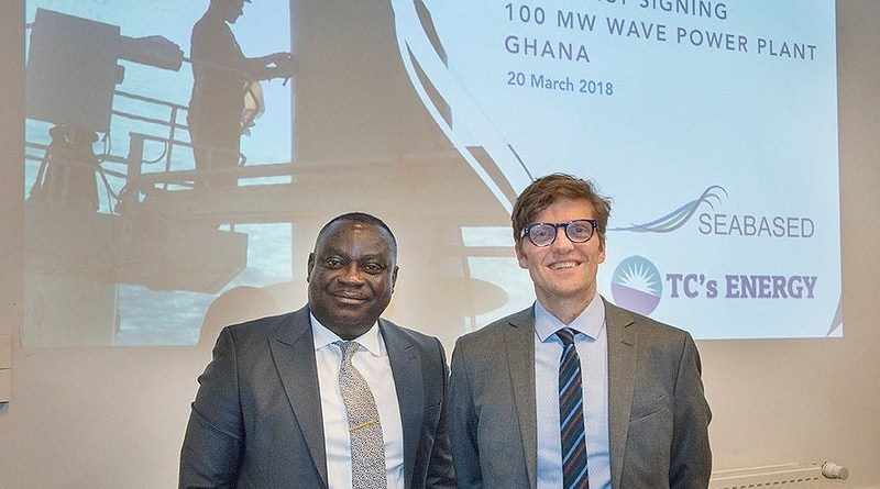 Seabased Chief Executive Oivind Magnussen and TC's Energy Chief Executive Anthony Opoku