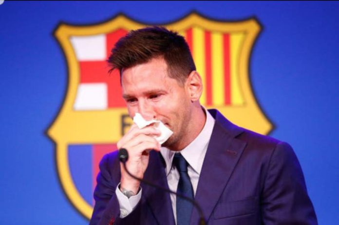 Saddest PHOTO on the internet – Reactions as Lionel Messi tearfully bids goodbye