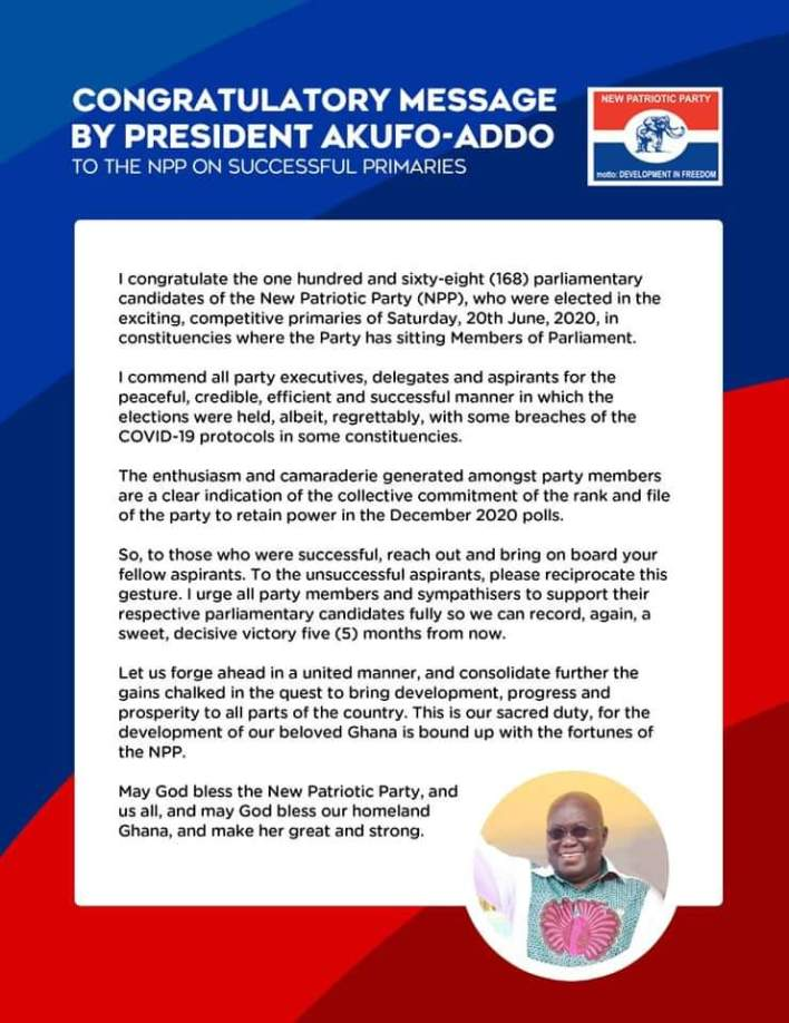 Akufo-Addo Congratulates The 168 NPP Parliamentary Candidates