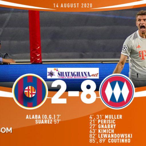 Watch Champions League Match Highlights, Barcelona 2: 8 Bayern